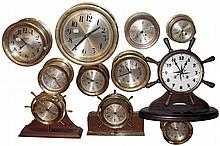 Clocks- 11 (Eleven) Marine including Chelsea and Boston quartz; and 8 days, Salem, Seth Thomas, Hammacher Schlemmer, New England Clock Co.