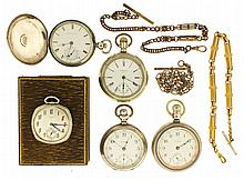 Pocket watches- 5 (Five), 18 size Waltham, 7 jewel nickel movement, Arabic numeral white enamel dial, 3 oz sterling silver open face case, serial #14907237, 18 size Waltham
