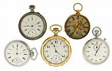 Pocket watches- 5 (Five), 14 size Waltham model 1874, for Howard & Co. New York, 16 jewel damascened nickel movement, Roman numeral white enamel dial, base metal open face case, serial #1144460, 18 size Elgin