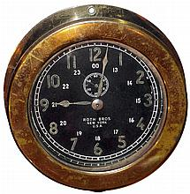 Roth Bros, New York, brass case 8 days, marine timepiece, Waltham (?) movement c1920