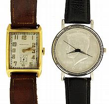 Wrist watches- 2 (Two), one Birkdale Swiss in an oblong 14 karat yellow gold case, the other a Cosort quartz with JFK half dollar coin dial