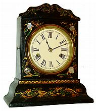 Litchfield Mfg. Co., Litchfield, Conn.30 hours, spring driven time and strike, paper mache and MOP inlay shelf clock, c1850.