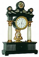 Austrian painted wood and alabaster column two-day time and strike, portico mantel clock, c1840
