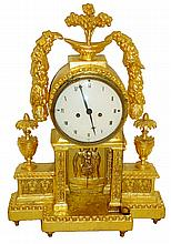 Austrian mantel clock, gilded, carved wooden case with classical ornament resting on turned feet, Roman numeral white enamel dial, blued steel hands, 2 day time and strike, movement with silk thread suspension, c1810
