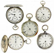 Pocket watches- 5 (Five), all Waltham 18 size key winds,