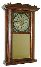 C. & N. Jerome, Bristol, Conn., 30 hour, time and strike, weight brass movement half round shelf clock, c1838