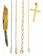 Watch chains- 4 (Four), one in 10 karat rose gold, 2 in 14 karat yellow gold, one in 16 - 18 karat yellow gold, together with a 14 karat yellow gold knife, and a 14 karat yellow gold cross, 68g TW