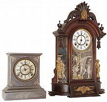 Clocks- 2 (Two) 8 days, time and strike, shelf clocks by the Ansonia Clock Co. of New York. The first clock is the