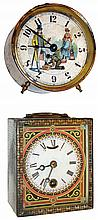 Clocks- 2 (Two): (1) Automaton dial of man having his shoes shined in an alarm clock style case, c1886 (2) C. C. C, (Centennial Cabinet Clock) lever movement novelty timepiece, c1875 Aug. S. Jerome, New York. Augustus was the oldest of the three sons