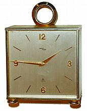Imhof, Swiss, 8 days, brass and glass double-side desk clock, 20th century