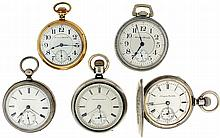 Pocket watches- 8 (Eight), all Hampden, 18 size