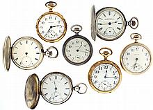 Pocket watches- 7 (Seven), all Waltham, 18 size