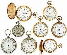 Pocket watches- 8 (Eight), all Waltham, 18 size, 11 - 15 jewel, key wind and set, coin silver open face case, serial # 4365924, 18 size, 9 - 11jewel model 83, key wind and set, silveroid open face case, serial # 3384553, 18 size 17 jewel model 83,