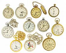 Pocket watches- 9 (Nine), Lionel, unjeweled movement, steel case with embossed locomotive, Chantel quartz with gold filled case, Russian Molnija, 18 jewel movement, steel case, for NAWCC 50th anniversary national, Swiss Imperial non magnetic,