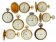 Pocket watches- 9 (Nine), 18 size Waltham, 7 jewel gilt movement, Arabic numeral white enamel dial, base metal open face case, serial #18895404, 18 size Sun Dial, 7 jewel nickel movement, Roman numeral white enamel dial, gold filled open face case,