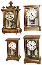 Clocks- 4 (Four) 8 days, time and strike, brass and glass crystal regulator mantel clocks: Seth Thomas, Waterbury