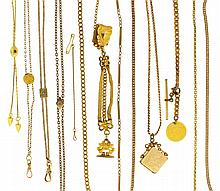 Watch chains- 12 (Twelve), 3 10k gold slide chains, one 10k gold chain, 7 gold filled, one gold filled chain with a 2 1/2 dollar gold US coin dated 1857, one 10k gold necklace marked
