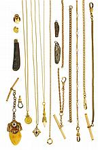 Watch chains- 16 (Sixteen) gold filled watch chains and 3 (Three) necklaces, including a single Albert with slide and seal fob, chain with cross form slide set with opals, single Albert with bloodstone and carnelian set fob, Elks fob and tie tack,