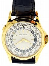 Patek, Philippe & Cie., Geneva, Switzerland, Ref. 5110J, mans World Time wristwatch, 33 jewels automatic caliber 240/188, adjusted to 5 positions, isochronism and temperature, cotes de Geneve decorated, nickel plate movement with lever escapement and