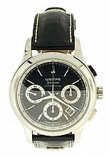 Wempe, Glashutte, Germany, Ref. WM54-0002, Zeitmeister chronograph, chronograph, 27 jewels, automatic winding, spotted, nickel plate movement with lever escapement in a stainless steel case and black painted dial with baton markers with subsidiary