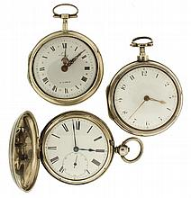 Pocket watches- 3 (Three), English verge fusee, gilt full plate movement signed