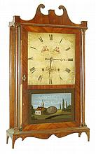 E. Terry & Sons, Plymouth, Conn., 30 hour, time and strike, weight wood movement pillar & scroll shelf clock, c1829