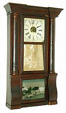 Birge, Peck & Co., Bristol, Conn., 8 days, time and strike, weight brass movement column & cornice shelf clock, c1850