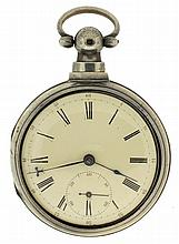 Jas. H. Reynolds, Columbia, S.C., English fusee for this American retailer, 7 jewels, key wind and set, gilt full plate movement with Massey III lever escapement, 5 arm steel balance with diamond endstone, and hack lever, in a sterling silver pair