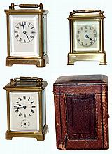 Clocks- 3 (Three) brass and beveled glass carriage clocks: French 8 days, time and alarm in original leather travel case; Waterbury
