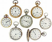 Pocket watches- 7 (Seven), all Hampden, 18 size, key wind 7 jewel gilt movement, Roman numeral white enamel dial, coin silver open face case, serial #79117, 18 size