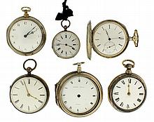Pocket watches- 6 (Six), Kelvey, Gainsborough, gilt full plate verge fusee, Arabic numeral white enamel dial, sterling silver pair case, serial #576, Eardley Norton, London, continental gilt full plate verge fusee, Roman numeral white enamel dial,