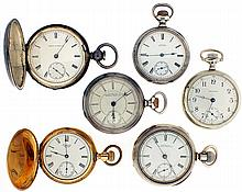 Pocket watches- 6 (Six)., all Waltham, 18 size