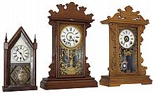 Clocks- 3 (Three)= (1) William L. Gilbert & Co., Winchester, Conn., 30 hours, miniature sharp gothic or steeple timepiece, c1865 (2) E. N. Welch Mfg. Co., Forestville, Conn.,