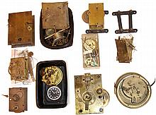Clock movements: complete and partial brass works by Howard, W&H;, French with dial and bezel, and unsigned banjo and regulator movements