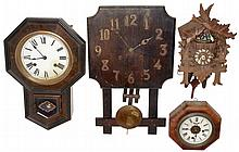Clocks- 6 (Six) wood case wall clocks: Ethan Allen 8 days, modern chiming; Japanese time and strike, school; Ansonia 30 hours, time and alarm marine; Ingraham 8 days, time and strike, banjo; National Clock Co., Chicago, 8 days, time and strike, oak