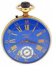 Roger & Cie. Geneve, man's pocket watch, 15 jewels, stem wind and pin set, nickel bar movement with cotes de Geneve decoration, lever escapement, bimetallic balance and wolf's tooth winding in an 18 karat, snap back and bezel, open face case with