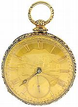 Breitling Laederich, Locle, Switzerland, man's pocket watch, 13 jewels, key wind and set, gilt Lepine movement, with lever escapement and gold balance, bimetallic compensation curb and parachute shock absorber in a 14 - 16 karat yellow gold, hinged