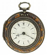 Edward Prior, London, England, triple cased verge fusee for the Turkish market, key wind and set, gilt plate movement with pierced and engraved balance cock and regulator plate, in a sterling silver, open face triple case, the outer case with