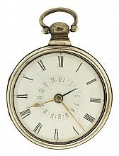 Bullingford, London, man's verge fusee pocket watch with date, key wind and set gilt plate movement with pierced and engraved balance cock, in a sterling silver pair case with Birmingham hallmark and date letter for the year 1827, Roman numeral,