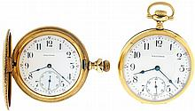 Pocket watches- 2 (Two), Waltham 16 size model 1908,17 jewel stem wind and set nickel movement, lever escapement, cut bimetallic balance, and micrometric regulator, Arabic numeral white enamel dial, 14 karat yellow gold open face case, the back with