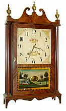 Eli Terry, Plymouth, Conn., 30 hours, time & strike weight wood movement pillar & scroll shelf clock, c1823