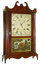 Eli & Samuel Terry, Plymouth, Conn., 30 hour, time and strike, weight wood movement pillar & scroll shelf clock, c1825