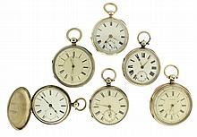 Pocket watches- 6 (Six), 2 sweep second with hack function, gilt 3/4 plate lever fusee movements, sterling silver open face cases, Roman numeral white enamel dials, 2 unsigned, gilt full plate lever movement, sterling silver open face cases, Roman
