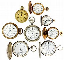 Pocket watches- 8 (Eight), all Waltham, 18 size
