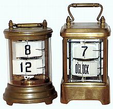 Clocks- 2 (Two) Plato brass and glass 30 hours, flipping-number digital timepieces: one rectangular with beveled glass; one cylindrical; c1905