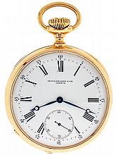 Patek, Philippe & Cie., Geneva, Switzerland. triple signed man's pocket watch. 21 jewels. stem wind and set. gilt bar movement. with. moustache lever escapement. cut bimetallic integral balance. double roller. gold timing screws. and micrometric