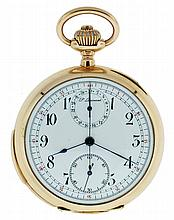 P. Dunand, Switzerland, triple signed minute repeating chronograph with 30 minute register, 17 jewels, stem wind and set, nickel plate movement with lever escapement, cut bimetallic balance and instantaneous minute register in a 14 karat, rose gold,