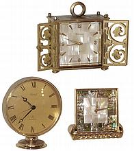 Clocks- 3 (Three) Bucherer/Imhof Swiss brass 8 days, alarm clocks, 20th century