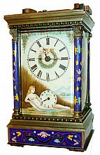 Repeating Carriage Clock, Chinese modern reproduction, with colorful enameled panels, 8 days, time and strike, late 20th century