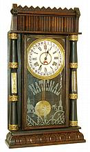 National Calendar Clock Company large column case with 8 days, time and strike, simple calendar movement shelf clock, c1912.